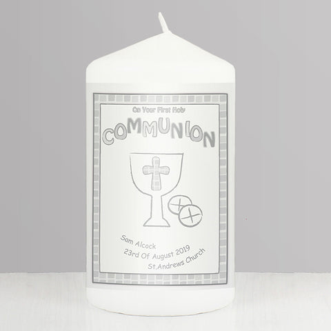 Buy Personalised Grey First Holy Communion Candle