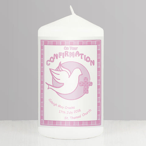 Buy Personalised Confirmation Candle Pink