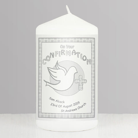 Buy Personalised Confirmation Candle Grey