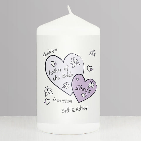 Buy Personalised Butterfly Hearts Wedding Candle