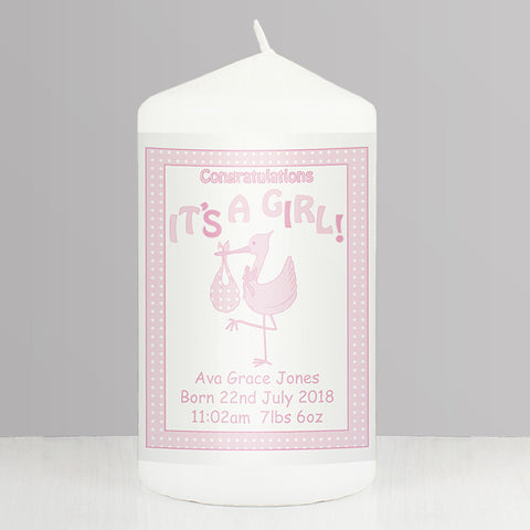 Buy Personalised Stork It's a Girl Candle