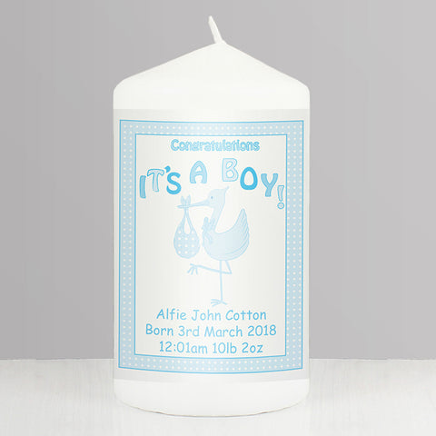 Buy Personalised Stork It's a Boy Candle