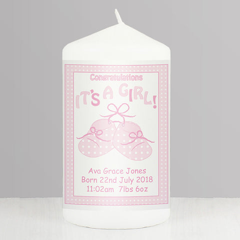 Buy Personalised Bootee It's a Girl Candle