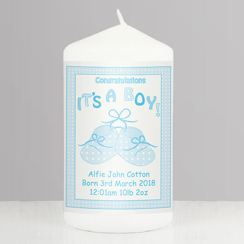 Buy Personalised Bootee It's a Boy Candle