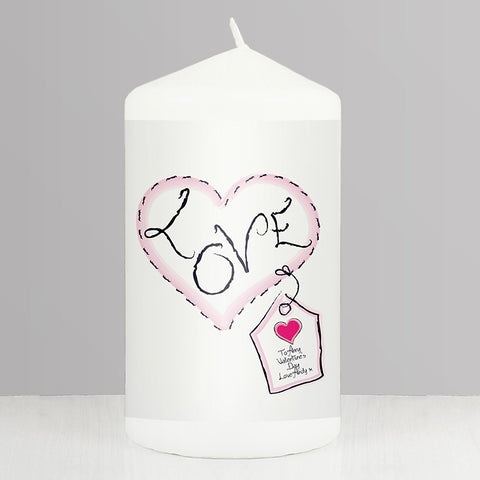 Personalised Heart Stitch Love Candle