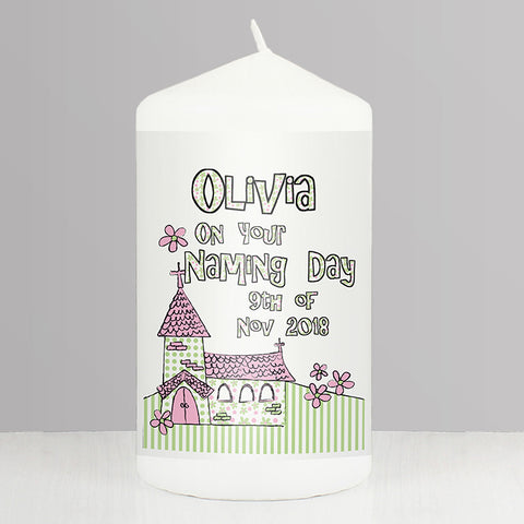 Buy Personalised Pink Church Candle