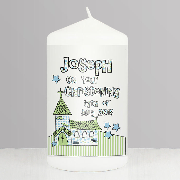 Personalised Blue Church Candle, Home & Garden by Low Cost Gifts
