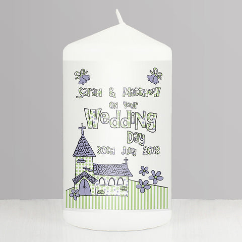 Buy Personalised Whimsical Church Wedding Candle