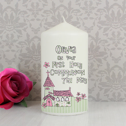 Buy Personalised Whimsical Church Pink 1st Holy Communion Candle
