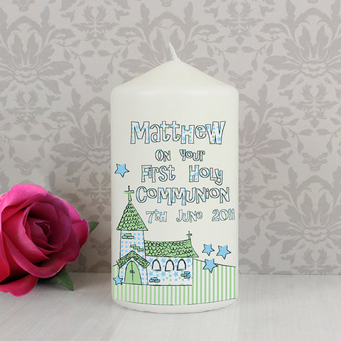 Buy Personalised Whimsical Church Blue 1st Holy Communion Candle