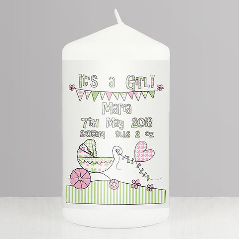 Buy Personalised Whimsical Pram Its a Girl Candle