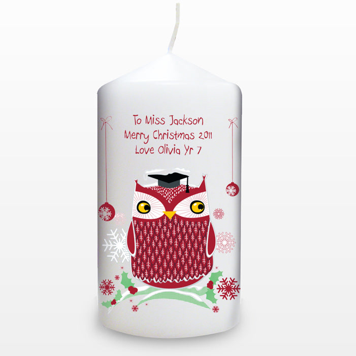 Personalised Christmas Owl Candle