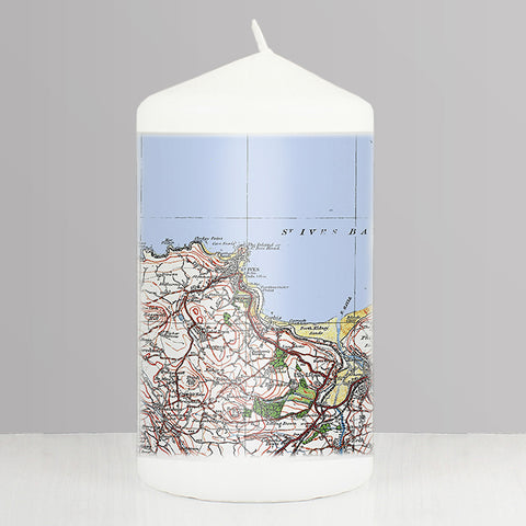 Personalised 1919 - 1926 Popular Edition Map Candle