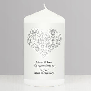 Personalised Silver Damask Heart Candle
