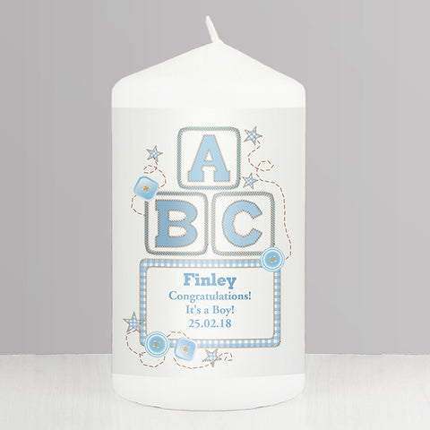 Buy Personalised Blue ABC Candle