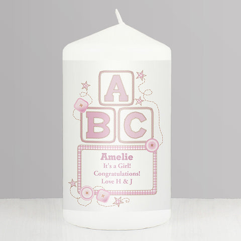 Buy Personalised Pink ABC Candle