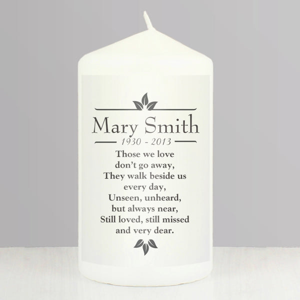 Personalised Sentiments 'Those We Love' Pillar Candle