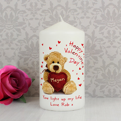 Buy Personalised Teddy Heart Candle