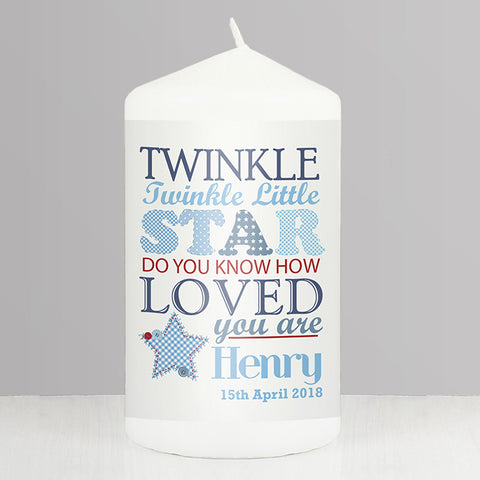 Buy Personalised Twinkle Boys Candle