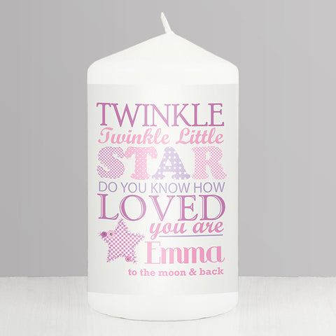 Buy Personalised Twinkle Girls Candle