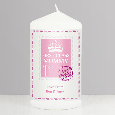 Buy Personalised Pink 1st Class Candle