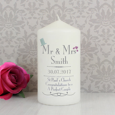 Buy Personalised Decorative Wedding Mr & Mrs Candle