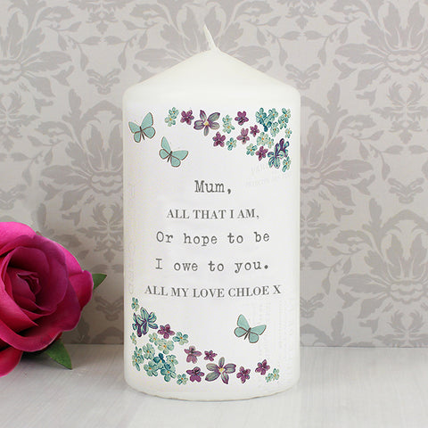 Buy Personalised Forget me not Candle