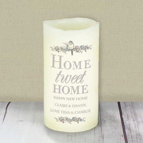 Personalised Home tweet Home LED Candle | ShaneToddGifts.co.uk