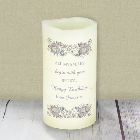 Buy Personalised Floral Spiral LED Candle