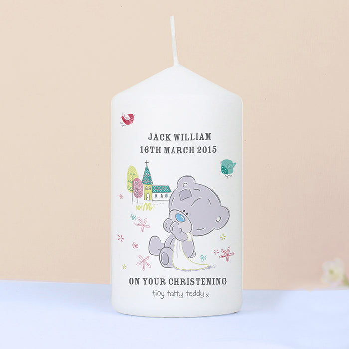 Personalised Tiny Tatty Teddy Christening Candle