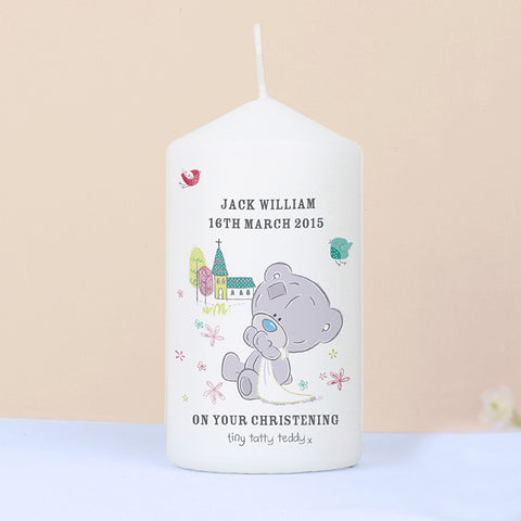 Buy Personalised Tiny Tatty Teddy Christening Candle