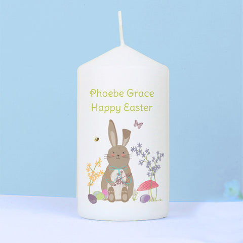 Personalised Easter Meadow Bunny Candle - Shane Todd Gifts UK