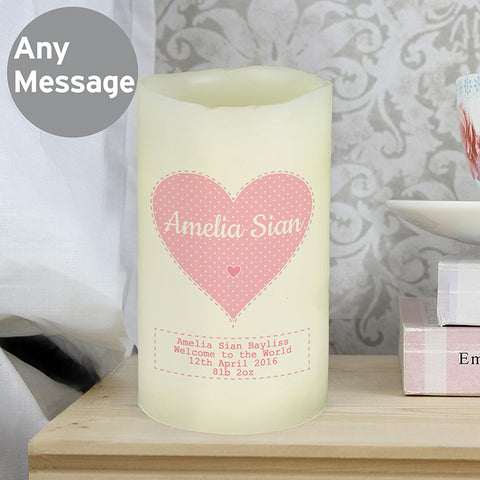 Personalised Stitch & Dot Girls Nightlight LED Candle