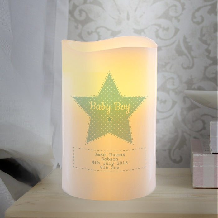 Personalised Stitch & Dot Boys Nightlight LED Candle