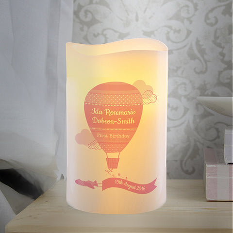 Personalised Up & Away Girls Nightlight LED Candle | ShaneToddGifts.co.uk