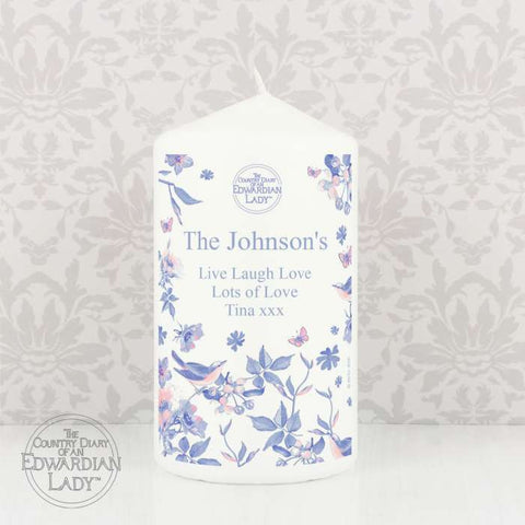 Buy Personalised Country Diary Blue Blossom Candle