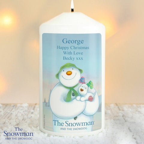 Buy Personalised The Snowman and the Snowdog Candle