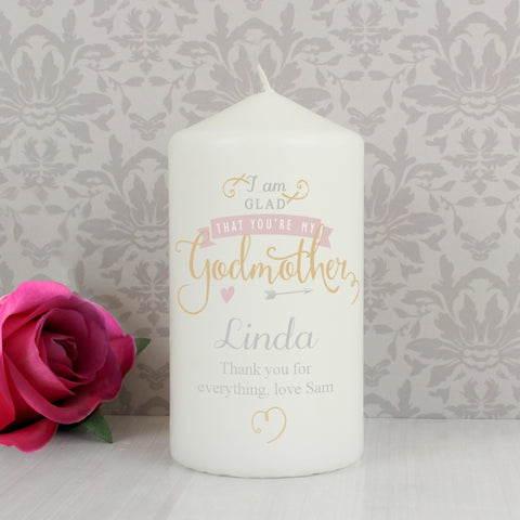 Buy Personalised I Am Glad... Godmother Candle