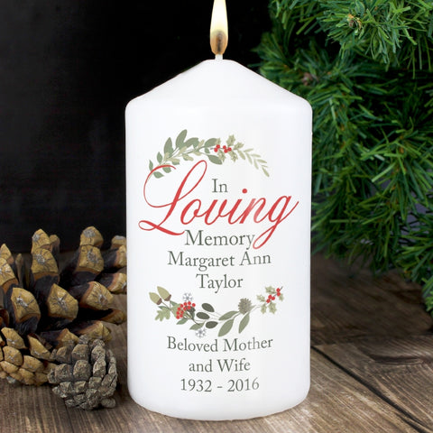 Buy Personalised In Loving Memory Wreath Candle