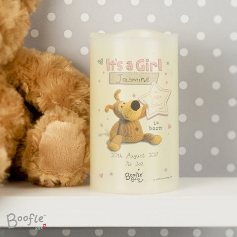 Personalised Boofle It's a Girl Nightlight LED Candle | ShaneToddGifts.co.uk