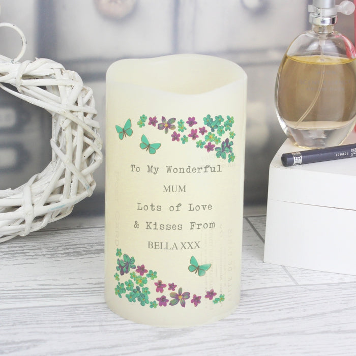 Buy Personalised Forget Me Not LED Candle