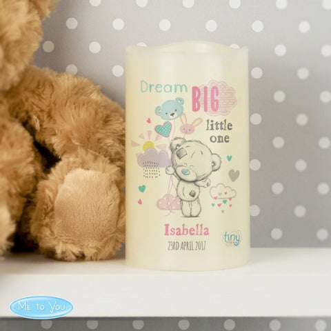 Personalised Tiny Tatty Teddy Dream Big Pink Nightlight LED Candle - Shane Todd Gifts UK