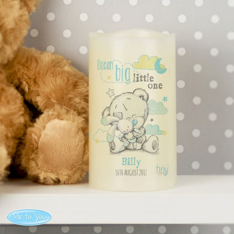 Personalised Tiny Tatty Teddy Dream Big Blue Nightlight LED Candle - Shane Todd Gifts UK