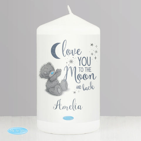 Personalised Me to You 'Love You to the Moon and Back' Pillar Candle | ShaneToddGifts.co.uk