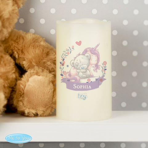 Personalised Tiny Tatty Teddy Unicorn Nightlight LED Candle