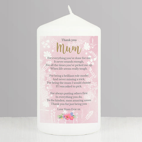 Buy Personalised Floral Watercolour Candle