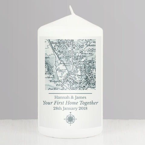 Buy Personalised 1805 - 1874 Old Series Map Compass Pillar Candle
