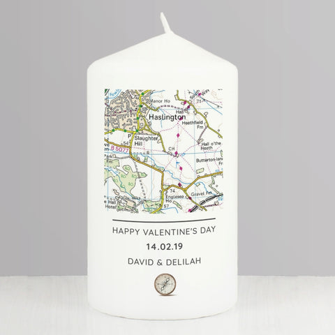 Buy Personalised Present Day Map Compass Pillar Candle