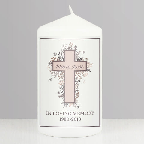 Buy Personalised Floral Cross Pillar Candle