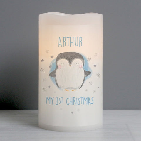 Buy Personalised 1st Christmas Penguin LED Candle
